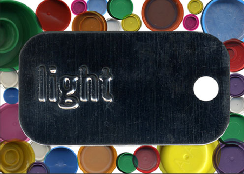 "From the series Poetry Dog tags Digital Print / Plexiglas 5"" X 7"" 2004"