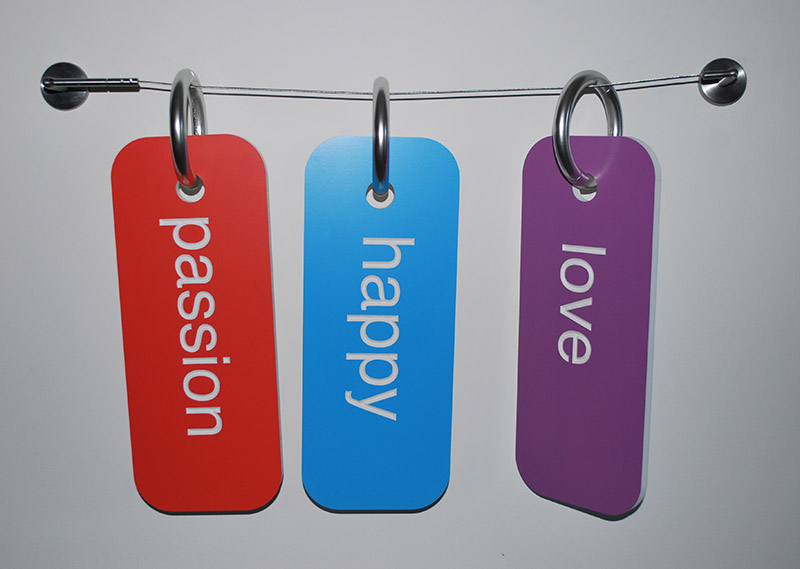 """Wire curtain rod, painted PVC tags 15"""" x 6"""" x 1/5"""" each tag   Installation variable dimentions  29"""" x 18"""" aprox 2013"""