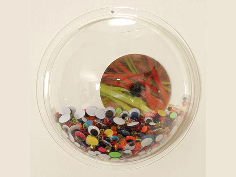 "Photo Installation / 17 Acrylic fish bowls, c-prints, plastic beats, wiggle eyes.  Variable dimensions/  Ea 11"" diameter x 4.5"" deep / 2008-2009 /"